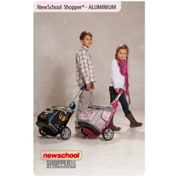 Schulranzentrolley New School Shopper silber-blau