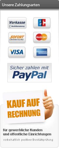 Zahlung per Vorkasse, Lastschrift, Paypal, SOFORT Überweisung oder Kreditkarte